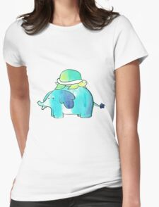 Turtle and Elephant Watercolor Womens Fitted T-Shirt