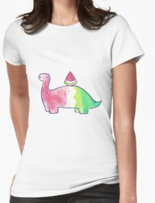 Watermelon Dinosaur Watercolor Womens Fitted T-Shirt