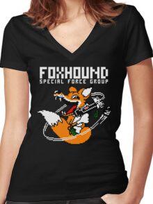 FOXHOUND PIXELART FOX WHITE Women's Fitted V-Neck T-Shirt