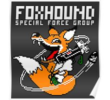 FOXHOUND PIXELART FOX WHITE Poster