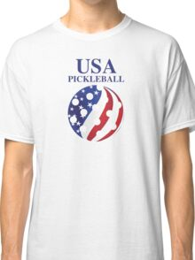 USA Pickleball Red/White/Blue Stars/Stripes Globe Classic T-Shirt