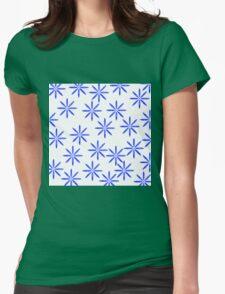 Blue Flower Print Womens Fitted T-Shirt