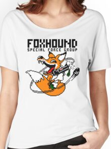 FOXHOUND PIXELART FOX BLACK Women's Relaxed Fit T-Shirt