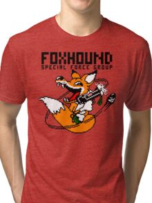FOXHOUND PIXELART FOX BLACK Tri-blend T-Shirt