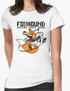 FOXHOUND PIXELART FOX BLACK Womens Fitted T-Shirt