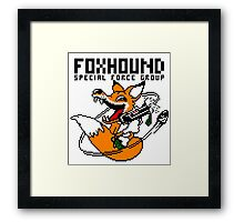 FOXHOUND PIXELART FOX BLACK Framed Print