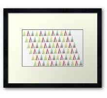 Vector geometric background. Colorful triangles theme Framed Print