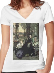 Vintage famous art - James Tissot - The Widow Women's Fitted V-Neck T-Shirt