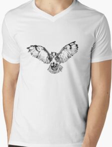 Owl in Flight (black) Mens V-Neck T-Shirt
