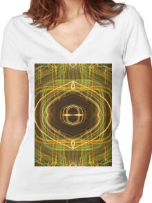atom light pattern abstract photography Women's Fitted V-Neck T-Shirt