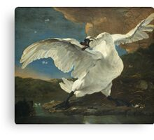Vintage famous art - Jan Asselyn - The Threatened Swan Canvas Print