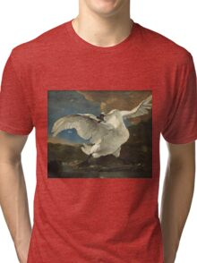 Vintage famous art - Jan Asselyn - The Threatened Swan Tri-blend T-Shirt