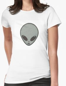 Grey Alien Patch Womens Fitted T-Shirt