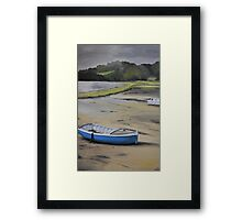 Blue boat devoran Framed Print