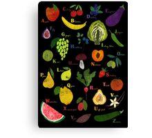 Fruit and vegetables English alphabet on dark Canvas Print