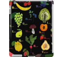 Fruit and vegetables English alphabet on dark iPad Case/Skin