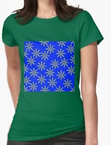 Yellow Flowers on Blue Womens Fitted T-Shirt