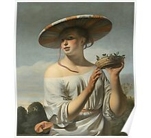 Vintage famous art - Cesar Van Everdingen  - Young Woman With A Large Hat Poster