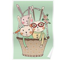 Easter Three Bunnies in a Basket Poster