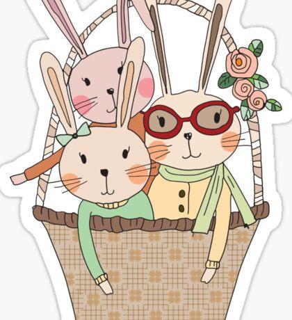 Easter Three Bunnies in a Basket Sticker