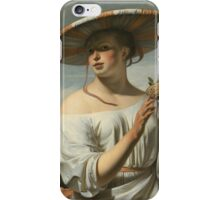 Vintage famous art - Cesar Van Everdingen  - Young Woman With A Large Hat iPhone Case/Skin