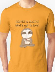 Cute Animals Coffee And Sloths Unisex T-Shirt
