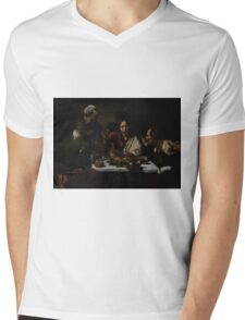 The Supper at Emmaus - Caravaggio Mens V-Neck T-Shirt