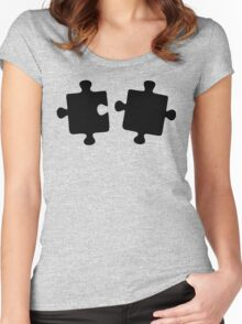 Puzzled Pattern - Classic Black & White Puzzles Women's Fitted Scoop T-Shirt