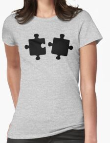 Puzzled Pattern - Classic Black & White Puzzles Womens Fitted T-Shirt
