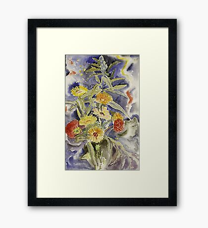 Vintage blue art - Charles Demuth - Spray Of Flowers Framed Print