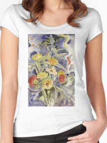 Vintage blue art - Charles Demuth - Spray Of Flowers Women's Fitted Scoop T-Shirt