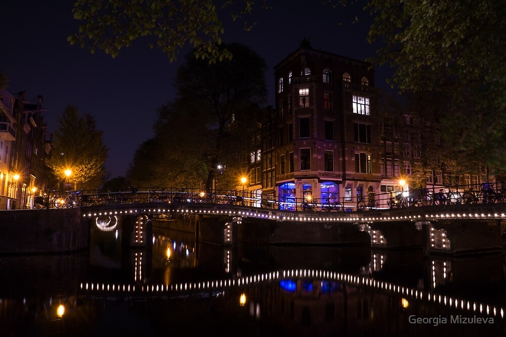 Magical, Sparkling Amsterdam Canals and Bridges at Night by Georgia Mizuleva