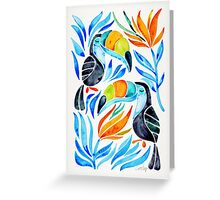 Tropical Toucans – Blue Leaves Greeting Card