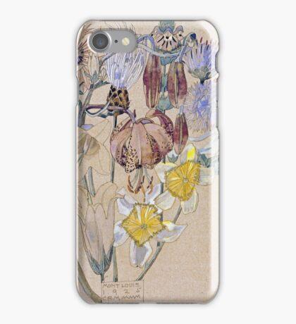 Vintage blue art - Charles Rennie Mackintosh  - Mont Louis - Flower Study iPhone Case/Skin