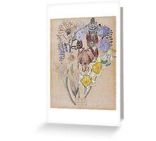 Vintage blue art - Charles Rennie Mackintosh  - Mont Louis - Flower Study Greeting Card