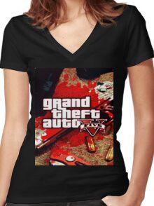 gta v Women's Fitted V-Neck T-Shirt