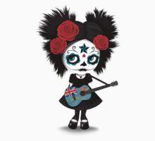 Sugar Skull Girl Playing Fiji Flag Guitar Kids Tee