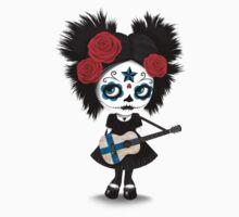 Sugar Skull Girl Playing Finnish Flag Guitar One Piece - Short Sleeve