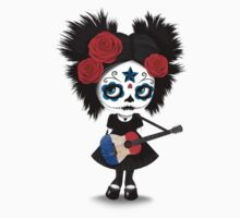 Sugar Skull Girl Playing French Flag Guitar One Piece - Long Sleeve