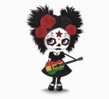 Sugar Skull Girl Playing Ghana Flag Guitar Kids Tee