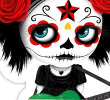Sugar Skull Girl Playing Guyanese Flag Guitar Sticker