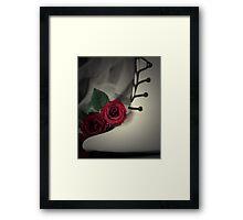 Red Rose, White Boot & Black Lace Framed Print