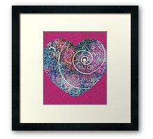 Heart Spiral Peacock  Framed Print