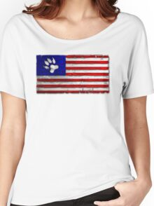 Distressed Paws & Stripes Flag Women's Relaxed Fit T-Shirt