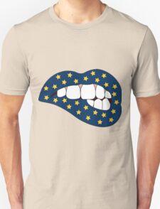 Blue & Yellow Star Lip Bite Unisex T-Shirt