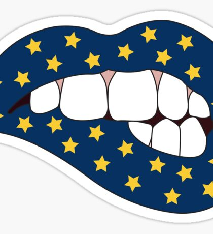Blue & Yellow Star Lip Bite Sticker