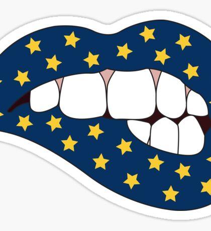 Blue & Yellow Star Lip Bite Sticker