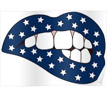 Blue & White Star Lip Bite Poster