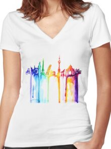 rainbow world Women's Fitted V-Neck T-Shirt