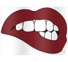 Dark Red Lip Bite Poster